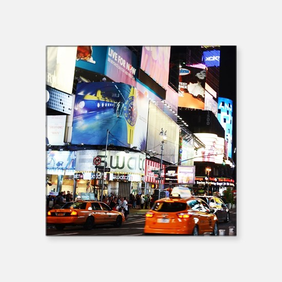"NYC at Night Square Sticker 3"" x 3"""