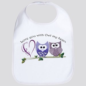 Love you with Owl my heart Bib