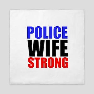Police Wife Strong Queen Duvet