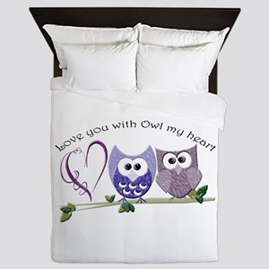 Love you with Owl my heart Queen Duvet