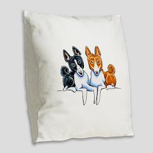 Basenji Buds Burlap Throw Pillow