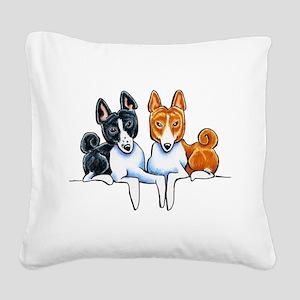Basenji Buds Square Canvas Pillow