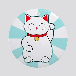 White Lucky Cat Ornament (Round)