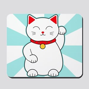White Lucky Cat Mousepad