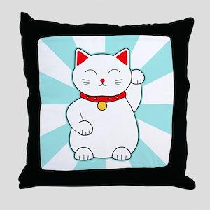 White Lucky Cat Throw Pillow