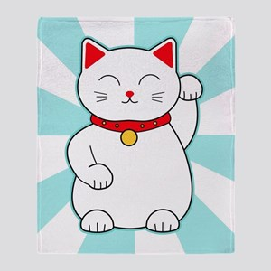 White Lucky Cat Throw Blanket