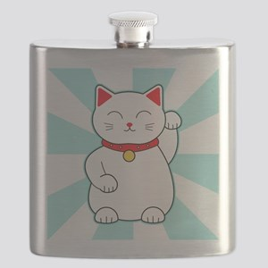 White Lucky Cat Flask