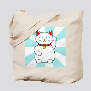 White Lucky Cat Tote Bag