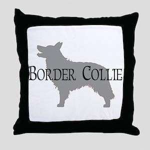 Border Collie #2 Fancy Text Throw Pillow