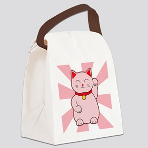 Pink Lucky Cat Canvas Lunch Bag