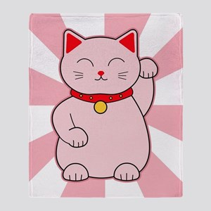 Pink Lucky Cat Throw Blanket