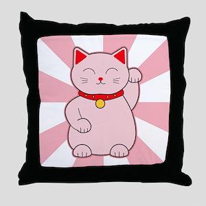 Pink Lucky Cat Throw Pillow