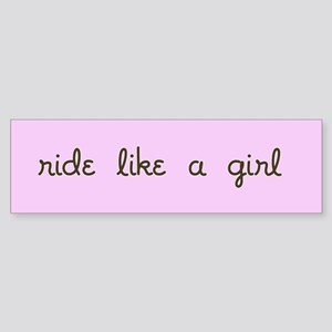 Ride like a girl bumper sticker, in Pink