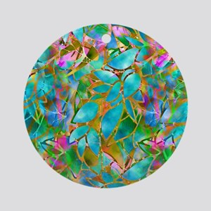 Floral Stained Glass 1 Ornament (Round)