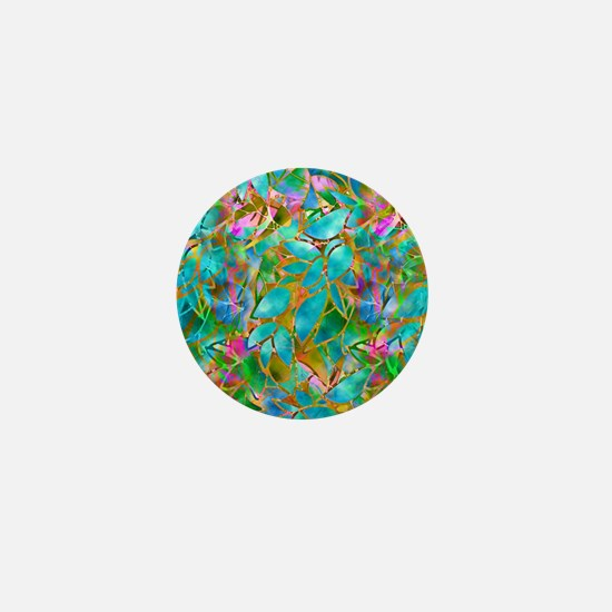 Floral Stained Glass 1 Mini Button