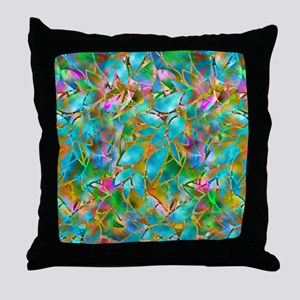 Floral Stained Glass 1 Throw Pillow