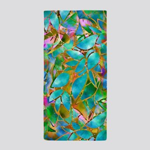 Floral Stained Glass 1 Beach Towel
