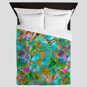 Floral Stained Glass 1 Queen Duvet