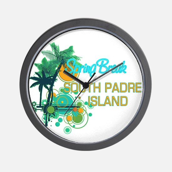 Palm Trees Circles Spring Break SOUTH Wall Clock