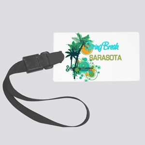 Palm Trees Circles Spring Break Large Luggage Tag