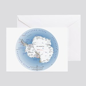Map Antarctica Greeting Card