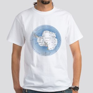 Map Antarctica White T-Shirt