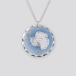 Map Antarctica Necklace Circle Charm