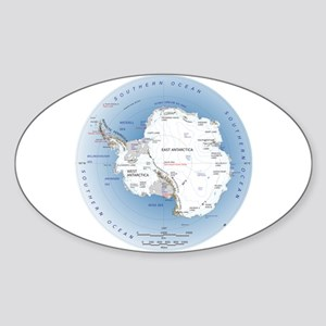 Map Antarctica Sticker (Oval)