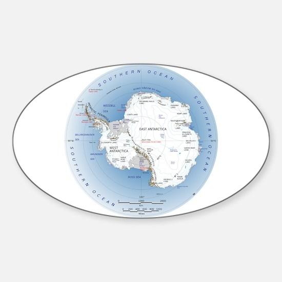 Map Antarctica Sticker (Oval)