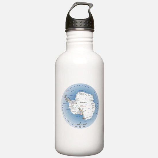 Map Antarctica Water Bottle