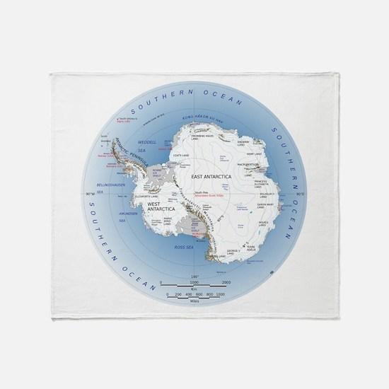 Map Antarctica Throw Blanket