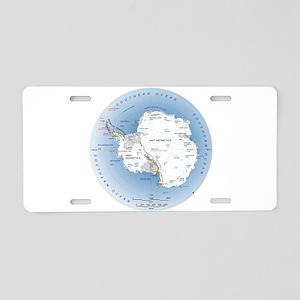 Map Antarctica Aluminum License Plate