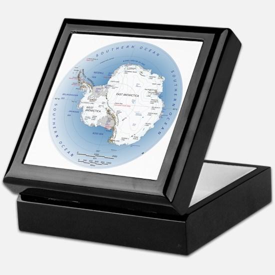 Antarctica Labeled Map Keepsake Box