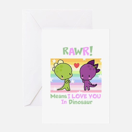 I LOVE YOU in DiNOSAUR Greeting Cards
