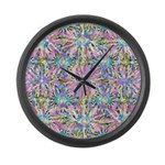 Pastel Bursts 1 Large Wall Clock