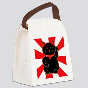 Black Lucky Cat Canvas Lunch Bag