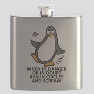 When in Danger or in Doubt Funny Penguin Gra Flask