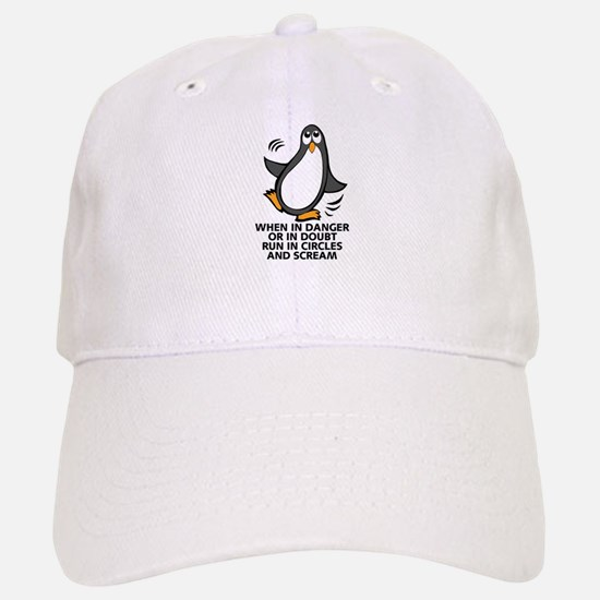 When in Danger or in Doubt Funny Penguin Graph Baseball Baseball Cap