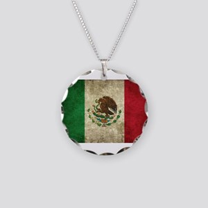 Mexican Flag Necklace Circle Charm