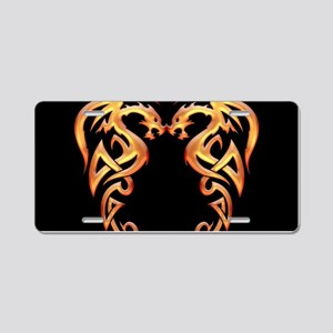 Twin Dragons Aluminum License Plate