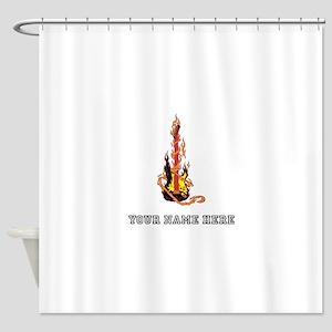 Custom Flaming Guitar Shower Curtain