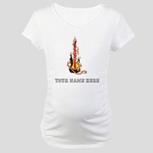 Custom Flaming Guitar Maternity T-Shirt