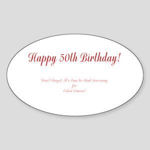50th Birthday Get a Colonoscopy Stop Colon Sticker