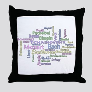 Classical Composers Word Cloud Throw Pillow
