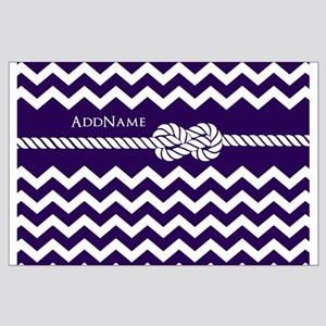 Violet Chevron Rope Personalized Large Poster