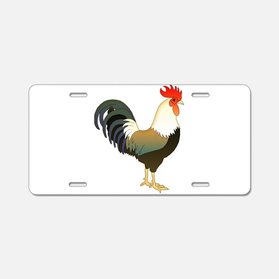 Rocking Rooster Aluminum License Plate