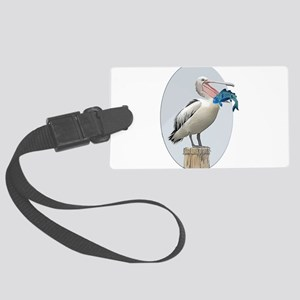Open Beaked Pelican with Fish Large Luggage Tag