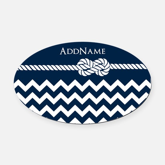 Chevron Rope Knot Personalized Oval Car Magnet