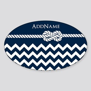 Chevron Rope Knot Personalized Sticker (Oval)