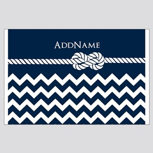 Chevron Rope Knot Personalized Large Poster
